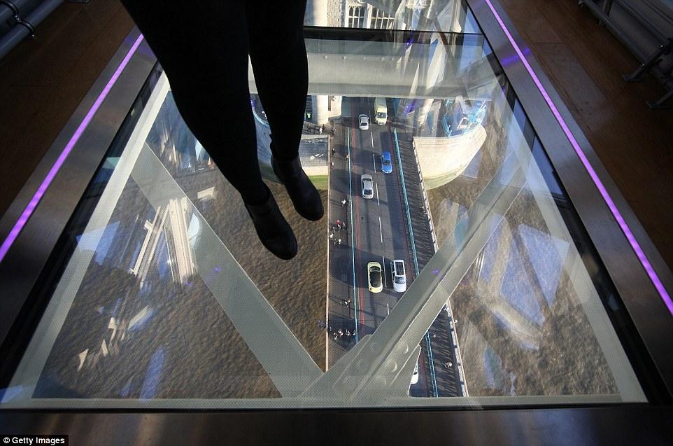 The glass walkway in Tower Bridge.
