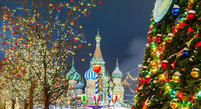Red Square in Moscow, Russia during Christmas.